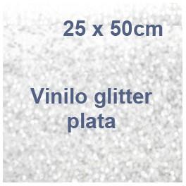 vinilo textil glitter plata